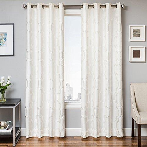 Cheap Softline Torino Series Woven Grommet Top Window Treatment / Panel / Drape / Curtain with Subtle Geometric Woven Design in White, White, 55″ x 84″