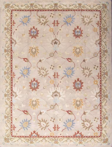 Rug Source New Agra All-Over Floral Hand-Tufted 8x11 Brown Wool Oriental Area Rug (8' 0