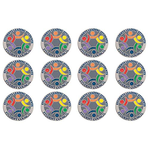 Student Council Students Leading Students Colorful Glitter Award Lapel Pin, Student Awards, Pack of -