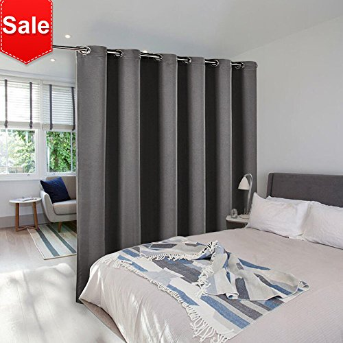 NICETOWN Room Divider Curtain Screen Partitions Full Length Room Partition Blackout Curtain Screen With Grommet Top (One Panel,10ft wide x 9ft long,Grey) (Length 9 Foot Drape Ceiling)