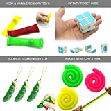 16 Pack Relieves Stress and Increase Focus Bundle Sensory Toys-Fidget Chain/Cube/Infinity Magic Cube/Liquid Motion Timer/Squeeze Bean Toys for ADD ADHD