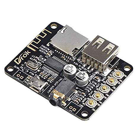 DROK Portable Wireless Bluetooth Audio Receiver Board, Support TF Card USB Decording Play, Bluetooth Stereo Music Transmitter Module for Headphones ...