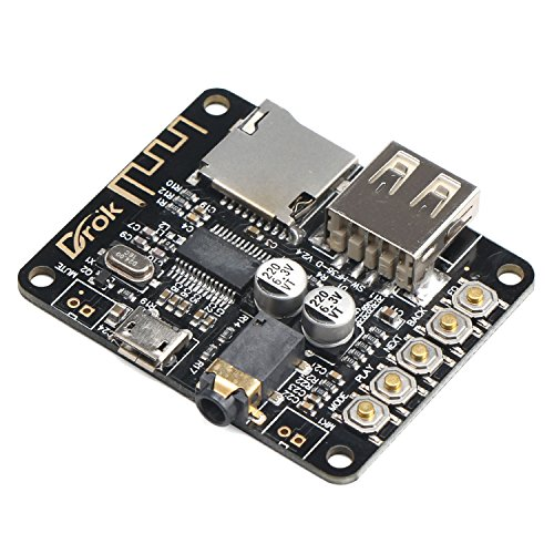 DROK Portable Wireless Bluetooth Audio Receiver Board, Support TF Card USB Decording Play, Bluetooth Stereo Music Transmitter Module for Headphones HiFi ()