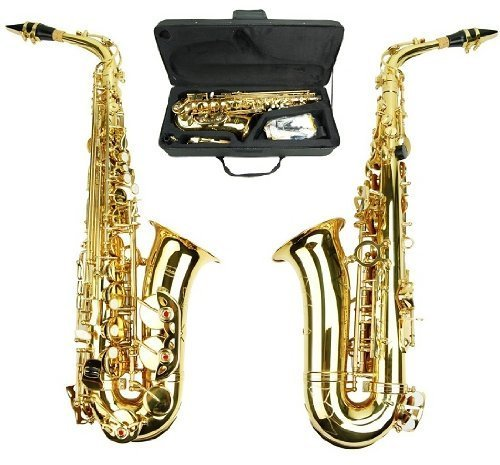 Merano E Flat Gold Alto Saxophone with Zippered Hard Case + Mouth Piece,Screw Driver, nipper. A pair of gloves, Soft Cleaning Cloth