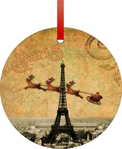 Vintage Santa and Sleigh Riding Over Big Eiffel Tower-Paris-TM Flat Round-Shaped Aluminum Christmas Ornament with a Red Satin Ribbon/Holiday Hanging Tree Ornament/Double-Sided Decoration/Great Unisex Holiday Gift!-Made in the (Vintage Aluminum Christmas Trees)