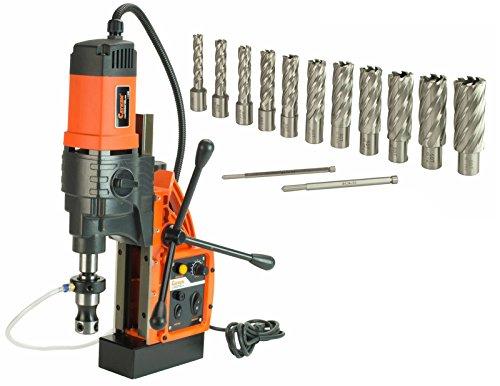 Cayken KCY-48-2WDO 1.8in. Magnetic Drill Press with 1700W Variable Speed Motor Weldon Shank 13 Piece 2in. Cut Depth Annular Cutter Kit