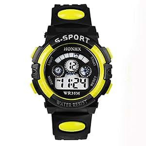 Reloj MESFOOD, niños Digital LED Cuarzo impermeable alarma deportes reloj, amarillo