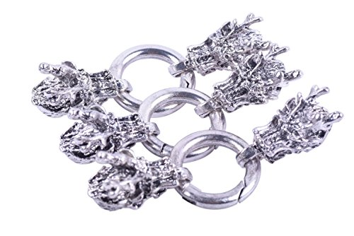 KONMAY Sets Dia. 9.0mm Antique Silver Dragon Head End Cap with Spring Clasp