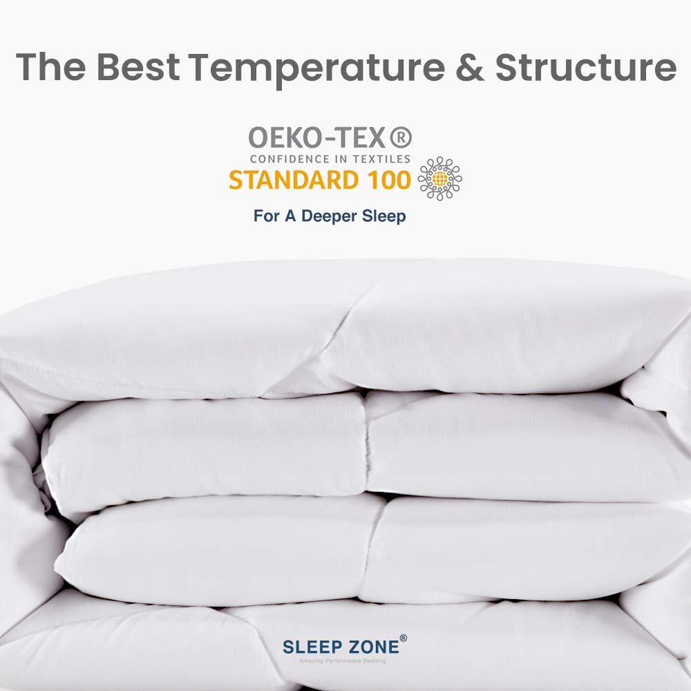 SLEEP ZONE All Season Comforter Down Alternative Soft Temperature Regulation Reversible Duvet, White, Twin