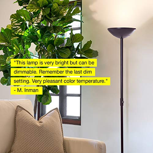Brightech SkyLite - Bright LED Torchiere Floor Lamp for Offices – Modern, Dimmable Reading Light for Living Rooms & Bedrooms - Tall Standing Pole Light - Jet Black by Brightech (Image #7)
