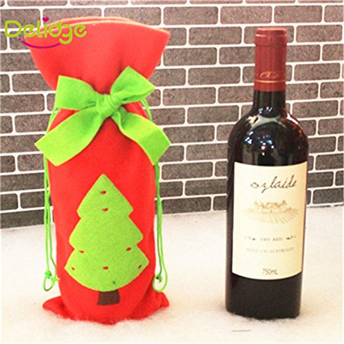 Christmas Wine Bottle Bag Dinner Party Decoration Bow-Knot Red Deer Christmas Tree Santa Claus Bottle Cover Bag Christmas (Christmas Tree) (Maison De Mickey Halloween)