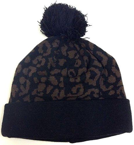 Brown Cheetah Pom Beanie Leopard Print Pattern Cuffed Knit Hat Winter ()