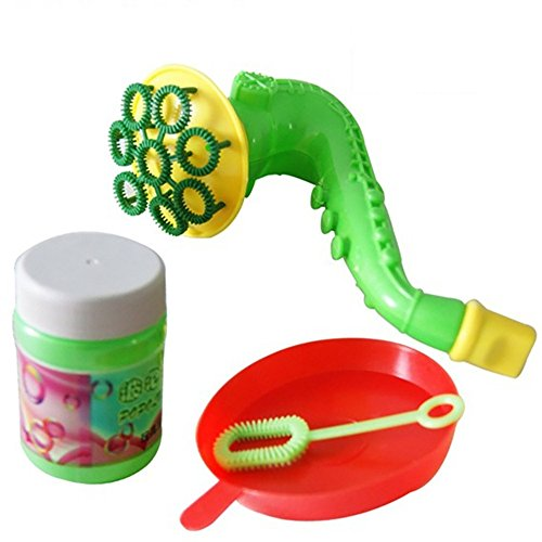 Nivalkid Water Blowing Toys Bubble Machine Soap Bubble Blower Outdoor Kids Child Toys Speaker Blowing Bubbles + Single Hole Blowing Bubbles + Tray + Bubble Water 50ml (Random)