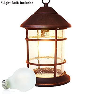 eTopLighting Bella Luce Collection Exterior Outdoor Hanging Pendant Lantern with Rust Body Finish and Warm White 2700K 8W LED Bulb, APL1404