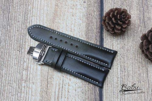 Green Mossy Gray Vegetable Tanned Leather Watch Strap 24mm 22mm 20mm 18mm 16mm Hand Crafted. VegTan Natural Calf Skin. Leather Padded Watch Band. Hand Stitch