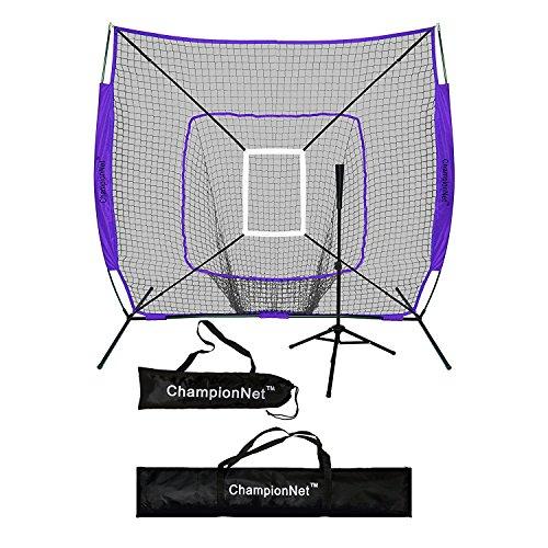 ChampionNet 7' x 7' Baseball/Softball Net & Frame with Tee & Target Zone Bundle - (Softball Target)