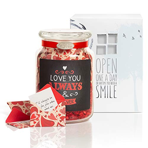 KindNotes Glass Keepsake Gift Jar with Long Distance Missing You Messages (for Couples) - Heart Garden Loving You Always ()
