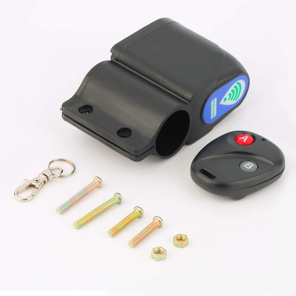 Wireless Alarm Lock Bicycle Bike Security With Remote Control Anti-Theft black