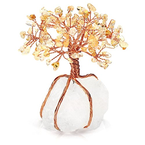 Top Plaza Chakra Healing Yellow Crystals Copper Tree of Life Wrapped On Natural Clear Quartz Crystal Base Feng Shui Luck Figurine Decoration ()