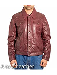 Mens Leather Casual Fitted Denim Levis Style Western Trucker Burgundy Jacket