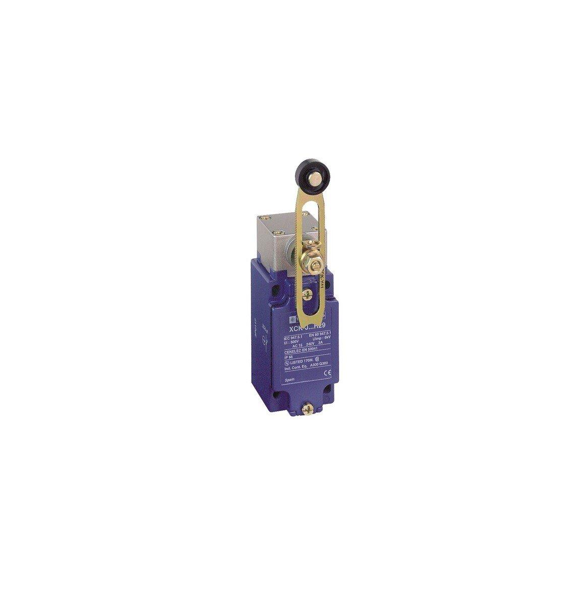 Schneider Electric XCKJ10541H29 ex OsiSwitch Métal Interrupteur de position format standard, levier à galet thermoplastique long, tête rotative, 1NC+1NO, brusque, M20 levier à galet thermoplastique long tête rotative