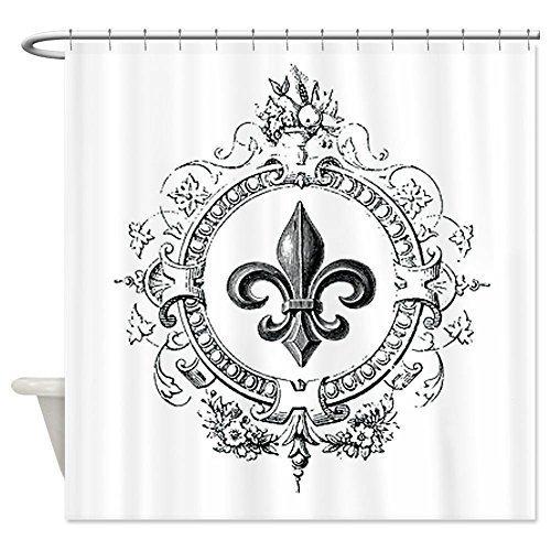 Shower Curtain Company Vintage French Fleur de lis Shower Curtain - Standard White (Lis De Curtains Shower Fleur)