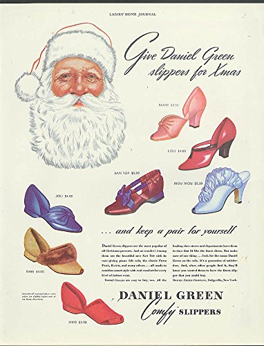 Santa Claus says Give Daniel Green slippers for Xmas ad 1940