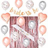 Royal Memories Bridal Shower Decorations - Bachelorette Party Decorations - Bride to Be Sash, Metallic Rose Gold Foil Fringe Curtain, Rose Gold Glitter Bride to Be Banner, 14 Beautiful Balloons