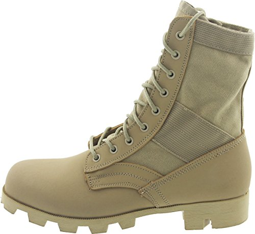 Desert Tan Panama Sole Military Leather Jungle Boots, Size 6 Regular -