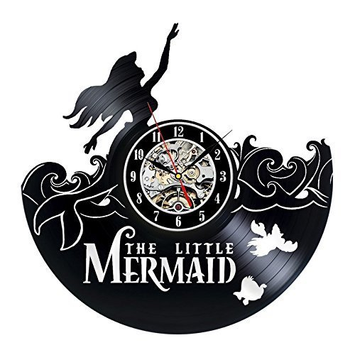 The Little Mermaid Ariel Vinyl Record Wall Clock - Decorate your home with Modern Large Disney Art - Gift for kids, girls and boys - Win a prize for a feedback