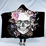 Sleepwish Sugar Skull Plush Wearable Hooded Blanket Skull Flowers Floral Watercolor Fleece Blanket Poppy Rose Sherpa Blanket (Kids 50''x 60'')
