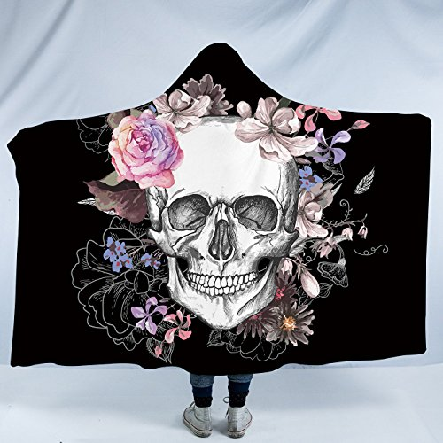 Sleepwish Sugar Skull Plush Wearable Hooded Blanket Skull Flowers Floral Watercolor Fleece Blanket Poppy Rose Sherpa Blanket (Kids 50