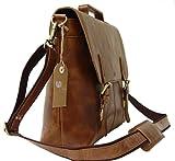 Leather Laptop Briefcase / Messenger Bag / Mens
