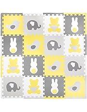 Tadpoles Baby Play Mat, Kid's Puzzle Exercise Play Mat – Soft EVA Foam Interlocking Floor Tiles, Cushioned Children's Play Mat, 16pc, Teddy & Friends, Yellow/Grey, 50x50