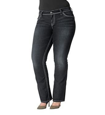 Amazon.com: Silver Jeans Women's Natsuki Flap Bootcut Jeans High ...