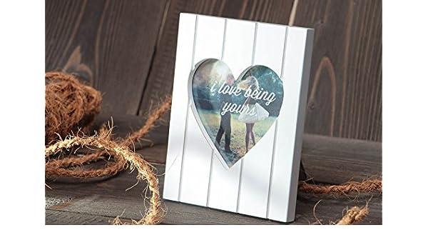 Marco para foto de corazon de enamorados artesanal blanco original para mesa: Amazon.es: Hogar