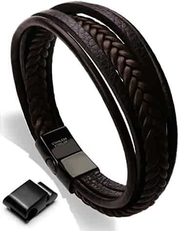 murtoo Leather Bracelet Magnetic-Clasp Cowhide Braided Multi-layer Wrap Mens Bracelet, 7.5''-8.7''