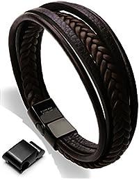 "<span class=""a-offscreen"">[Sponsored]</span>Leather Bracelet Magnetic-Clasp Cowhide Braided Multi-layer Wrap Mens Bracelet, 7.5''-8.7''"