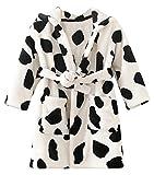 Hwafan Unisex Kids Soft Coral Fleece Hooded Bathrobe Dressing Pajamas Sleepwear Cows 5T
