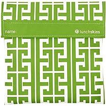 Lunchskins Reusable Velcro Sandwich Bag, Green Greek Key