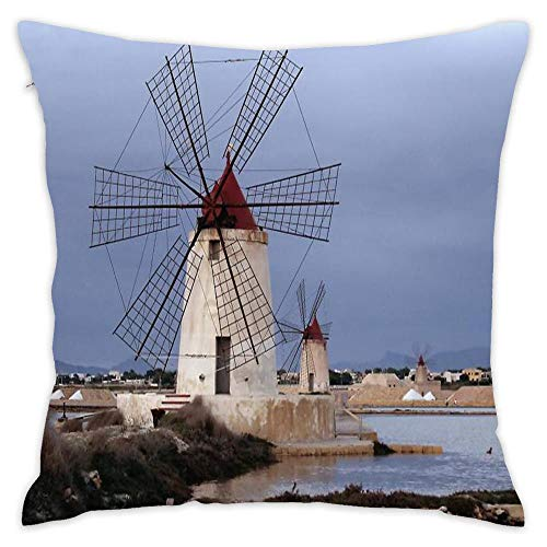 Wbsdfken Molinos De Viento, Marsala, Sicilia, Italia Cotton Linen Square Throw Pillow Case Decorative Cushion Cover Pillowcase Sofa (1818 inch)