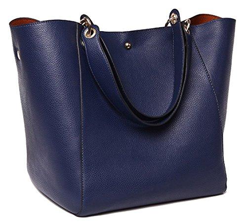 TIBES Fashion Waterproof Large Shoulder Bag Synthetic Leather Handbag Deep Blue