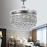 Huston Fan Modern Crystal Chandelier Ceiling Fan with 4 Retractable Blade and Remote for Indoor Restaurant Living Room Bedroom Dining Room LED 3 Color Change Ceiling Lamp