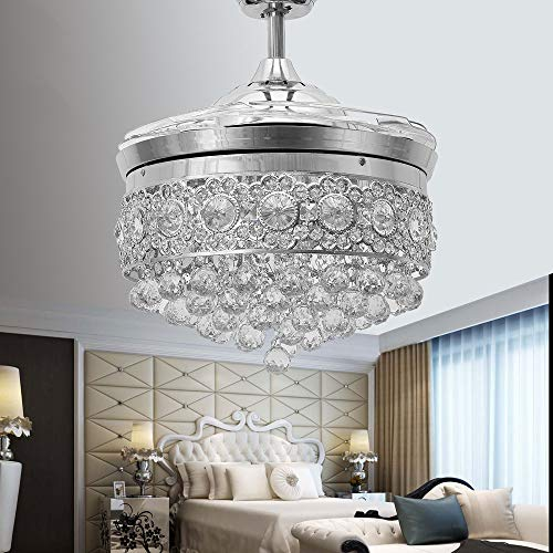 Huston Fan Modern Crystal Chandelier Ceiling Fan with 4 Retractable Blade and Remote for Indoor LED 3 Color Changing-White Warm Neutral,42 Inches Silver Ceiling Fan with Light for Indoor ()