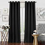 Solar Shield Neilson Grommet Room Darkening Window Curtain Panel (108-Inch, BLACK)