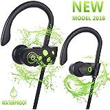 Bluetooth Headphones w/12-14 Hours Battery - Best Wireless Sport Earphones w/Mic - Waterproof HD Music in-Ear Earbuds for Gym Running Workout Noise Cancelling Headsets for Men, Women