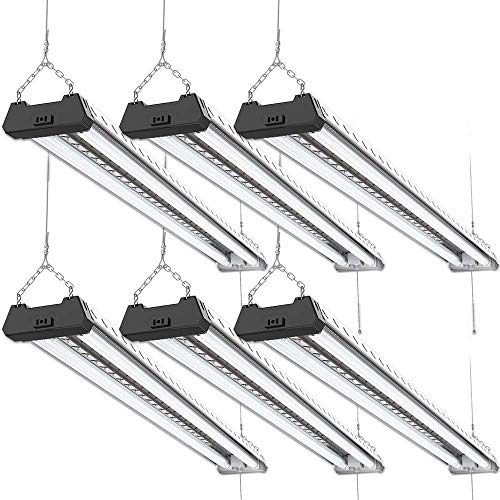 Sunco Lighting 6 Pack Industrial LED Shop Light, 4 FT, Linkable Integrated T8 Fixture, 40W=260W, 6000K Daylight Deluxe, 4000 LM, Surface + Suspension Mount, Pull Chain, Garage Light - Energy Star