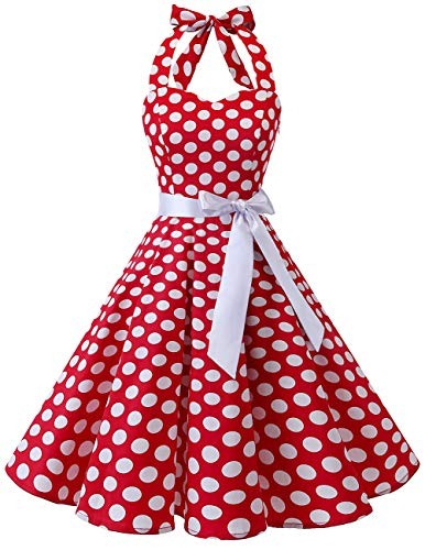 Bridesmay Women's 1950s Vintage Halter Retro Rockabilly Floral Cocktail Party Swing Dress Red White Dot 3XL]()