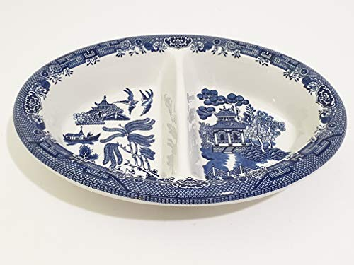 Churchill Blue Willow Georgian Shape Oval Divided Vegetable Bowl ()