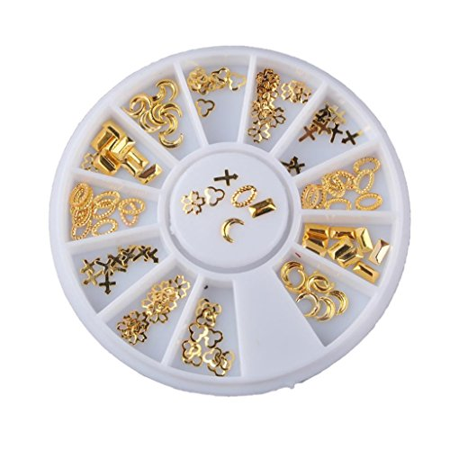 MagiDeal 3D Golden Hollow Frame Design Nail Art Tips Decorations Metallic Studs Stickers Decor Wheel DIY - Online Design Frame